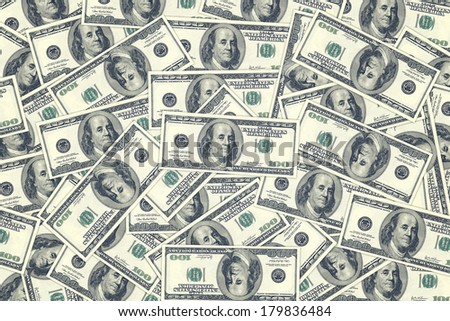 Hundred dollar bills as background. Money pile, financial theme, top view - stock photo