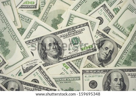 Hundred Dollar Bills Background Horizontal Photo