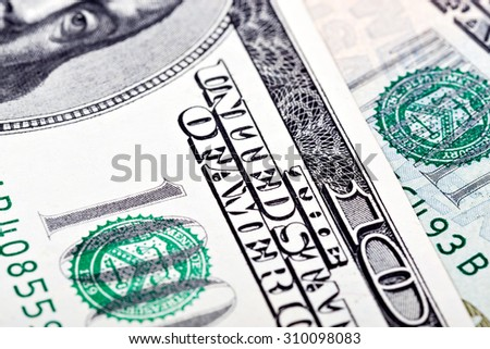 hundred dollar bills close-up, a stable exchange rate of the dollar on the world market