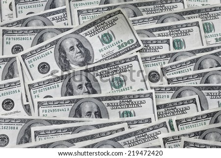 hundred dollar bills close-up as background - stock photo
