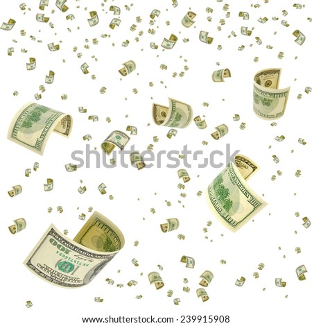 Hundred-dollar bills floating in the air. - stock photo