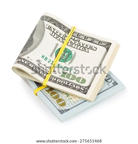 Hundred Dollar bills folded and tied with rubber band isolated on white - stock photo