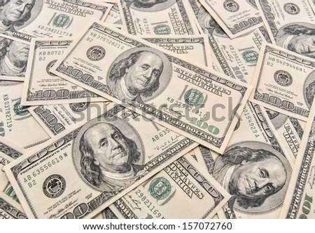 Hundred Dollar Bills for background  - stock photo