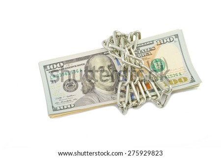 Hundred dollar bills in chains isolated on white background