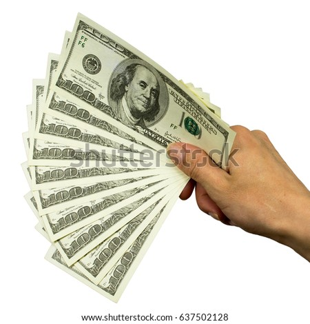 hundred dollar bills in female hand on white background isolated