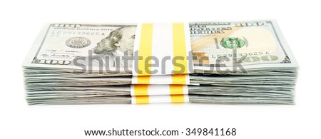 Hundred dollar bills, isolated on white  - stock photo