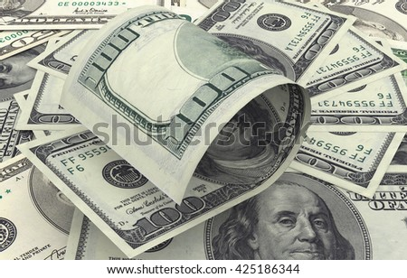 Hundred dollar bills on top of money pile. 3d rendering - stock photo