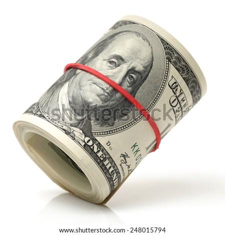 hundred dollar bills on white background - stock photo