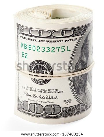 Hundred dollar bills rolled up with rubberband. Clipping Path - stock photo
