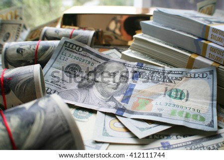 Hundred Dollar Bills Stock Photo - stock photo