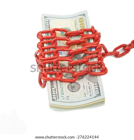 Hundred-dollar bills tied with a red chain - stock photo