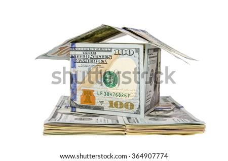 Hundred Dollar house isolated on white background - stock photo