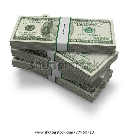 Hundred dollar notes in a five tidy stacks with identifying bands on white background