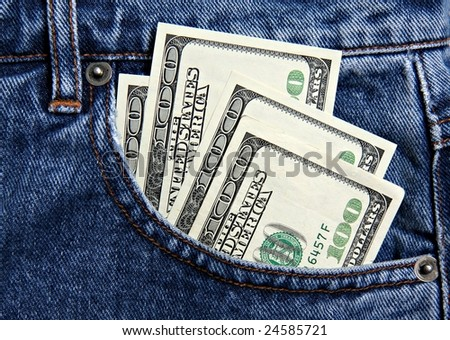 Hundred dollar notes in jeans pocket