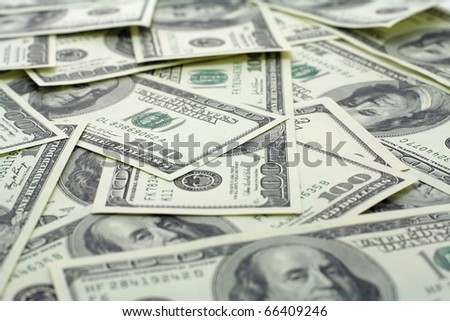 hundred dollars banknotes background with depth of field - stock photo