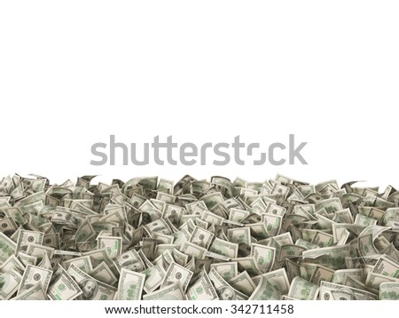 hundred dollars banknotes money bills on the ground isolated on white - stock photo