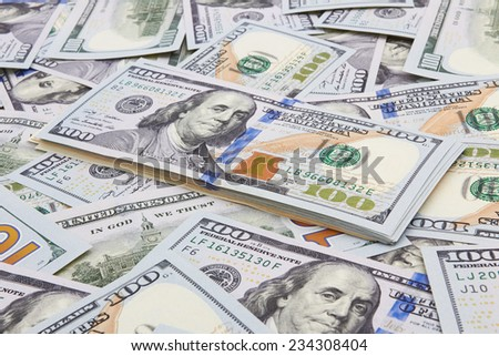 Hundred dollars banks note money as a background