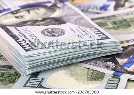Hundred dollars banks note money as a background - stock photo
