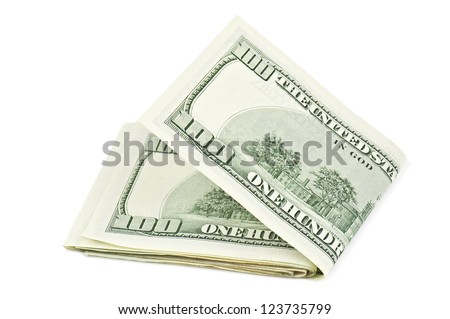 hundred dollars on white background