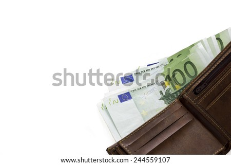 hundred euro banknotes in leather wallet