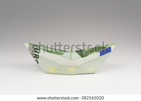 Hundred Euro Bill Boat Horizontal Photograph (with clipping path) - stock photo