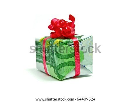 Hundred euro bill packed as a gift - stock photo
