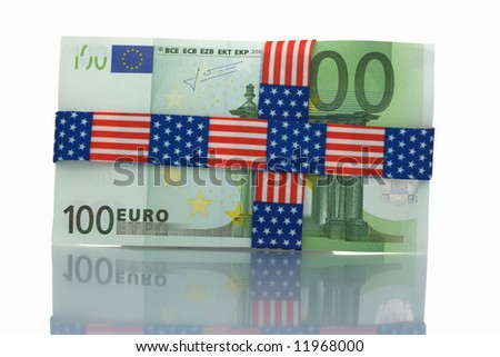 Hundred euro bill wrapped with US banner patterned tape - stock photo