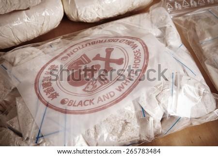 Hundred of drug bags - stock photo
