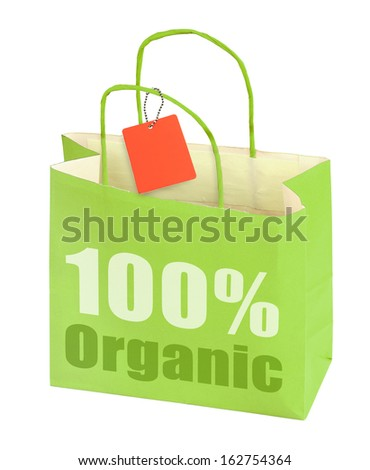 Hundred percent organic shopping bag isolated on white  - stock photo