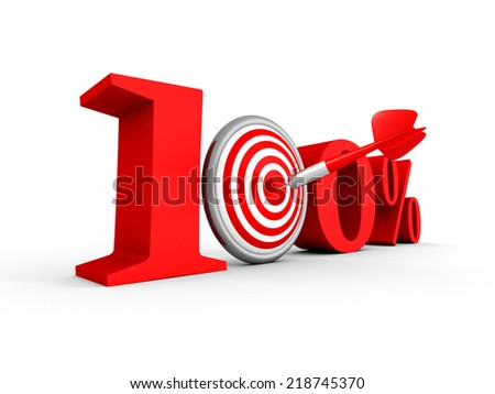 hundred percent 100% red symbol with target and arrow. 3d render illustration - stock photo