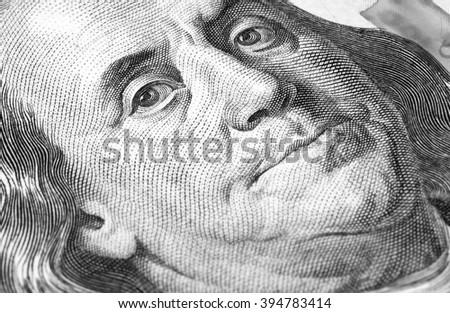 hundred us dollars macro closeup - stock photo