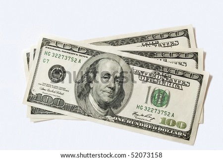hundreds dollars on white background