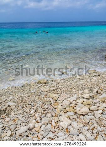 Hundu Beach - Curacao ( Dutch Antilles)  an island in the Caribbean Ocean  - stock photo