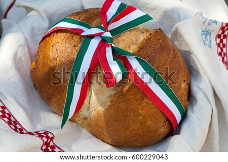 hungarian bread with national ribbon