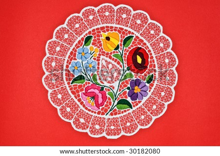 Hungarian circle embroidery - stock photo