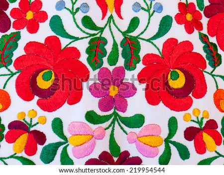 Hungarian embroidery with bright colors