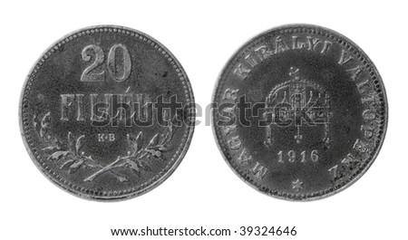 hungarian 20 filler coin of 1916 - stock photo