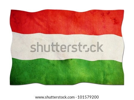 Hungarian Flag made of Paper - stock photo