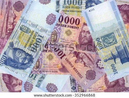 hungarian forint background from paper banknotes