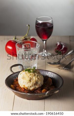 hungarian goulash in a pot  - stock photo