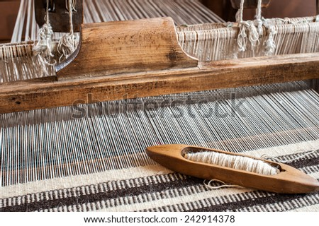 Hungarian homespun. Traditional weaving hand loom for carpets in Transylvania.  - stock photo