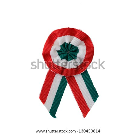 hungarian kokarda on white background - stock photo