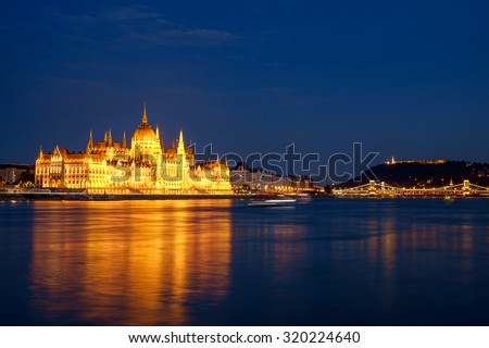 Hungarian landmarks,panorama of Budapest at night - stock photo