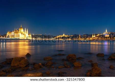 Hungarian landmarks,panorama of Budapest at night-Hungary - stock photo