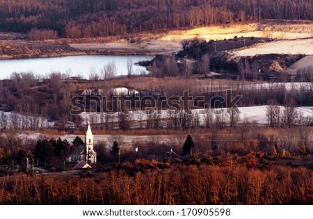 Hungarian landscape (Salfold) in sunset - stock photo