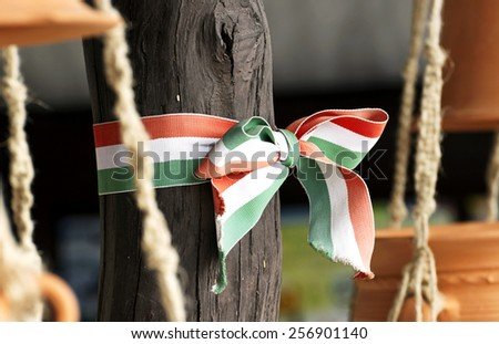 Hungarian nationals colors ribbon - stock photo