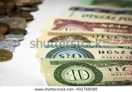Hungarian old money, paper and coins - stock photo