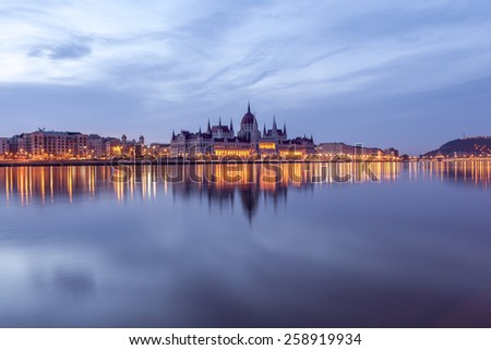Hungarian Parliament and the GellertHill at morning