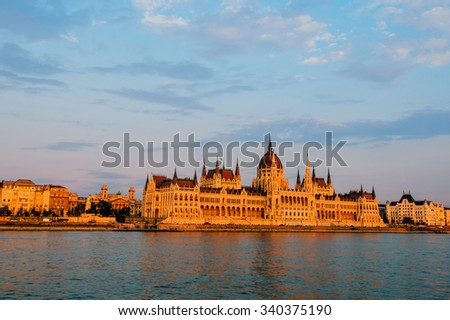 Hungarian Parliament  at sunset, Budapest.