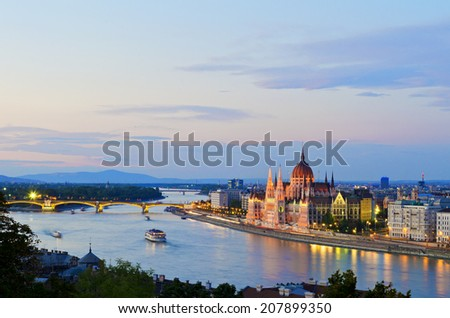 Hungarian Parliament building and Danube river - stock photo